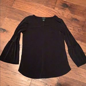 Ann Taylor black bell sleeve blouse, scoop neck,xs